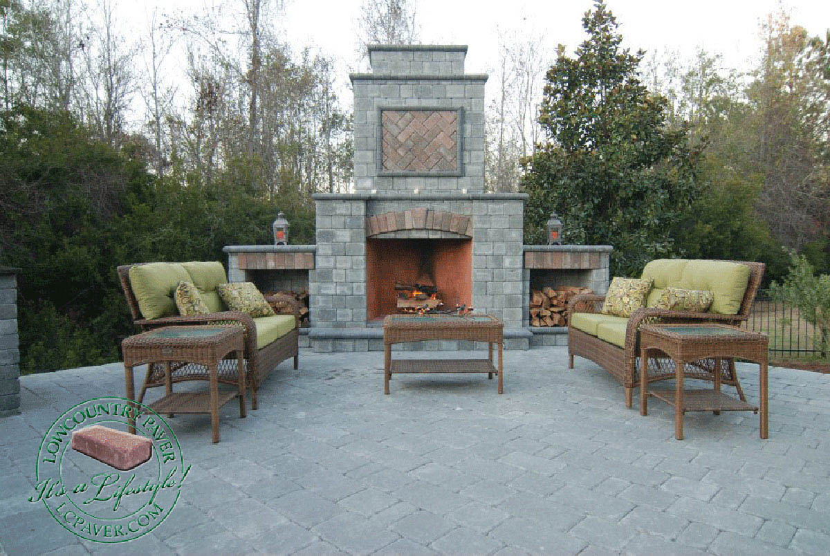 outdoor kitchen u0026 fireplace lowcountry paver