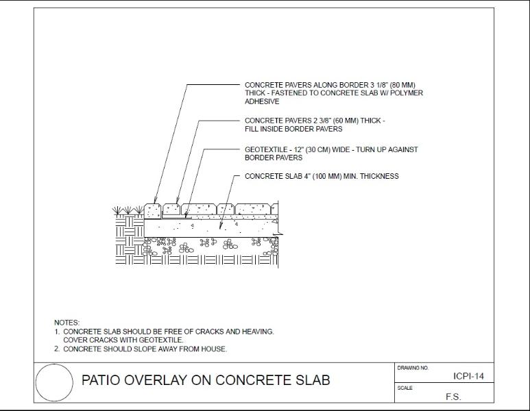 paver patio over concrete slab details