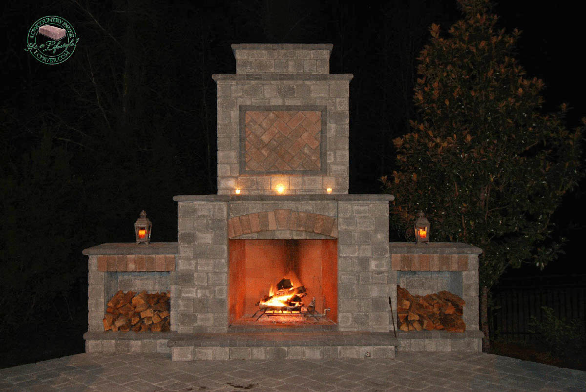 Outdoor Kitchen Amp Fireplace Lowcountry Paver